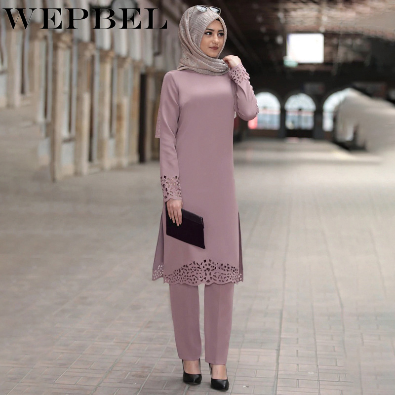 WEPBEL Muslim Women 2 Piece Set Outfits Long Sleeve Solid Robe Two Piece Set Top And Pants Arab Dubai Ramadan Islamic Clothing