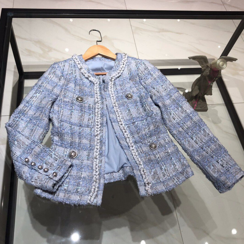 Small Fragrant Tweed Jacket Fashion Korean Short Women Coat Vintage Long Sleeve Sliver Button Slim Woolen Outerwear Chic Tops