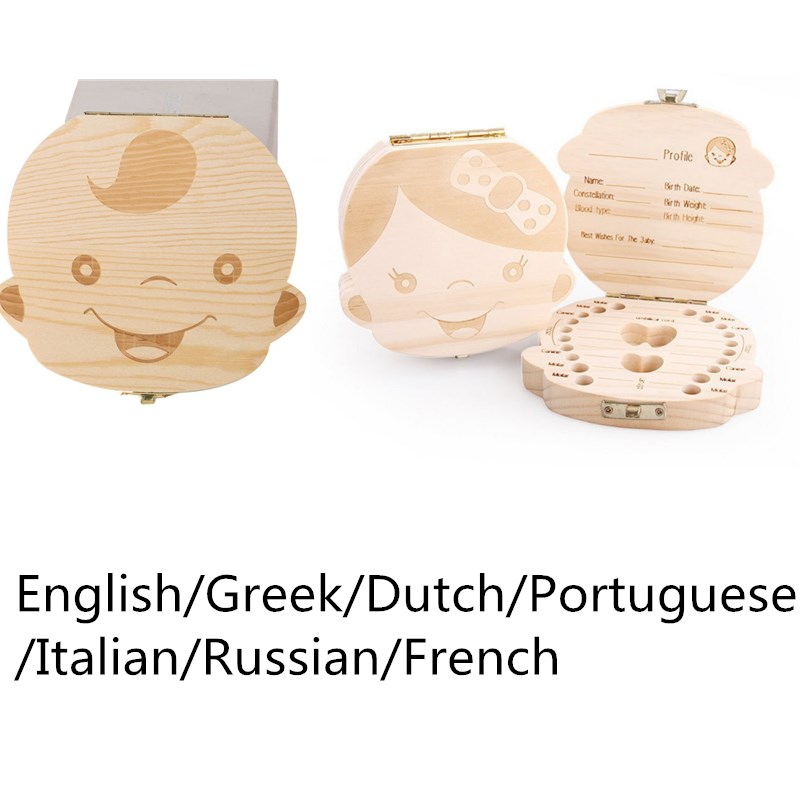 Wooden Baby Kids Tooth Storage Box English/Greek/Dutch/Portuguese/Italian/Russian/French Teeth Umbilical Keepsakes Gift Save