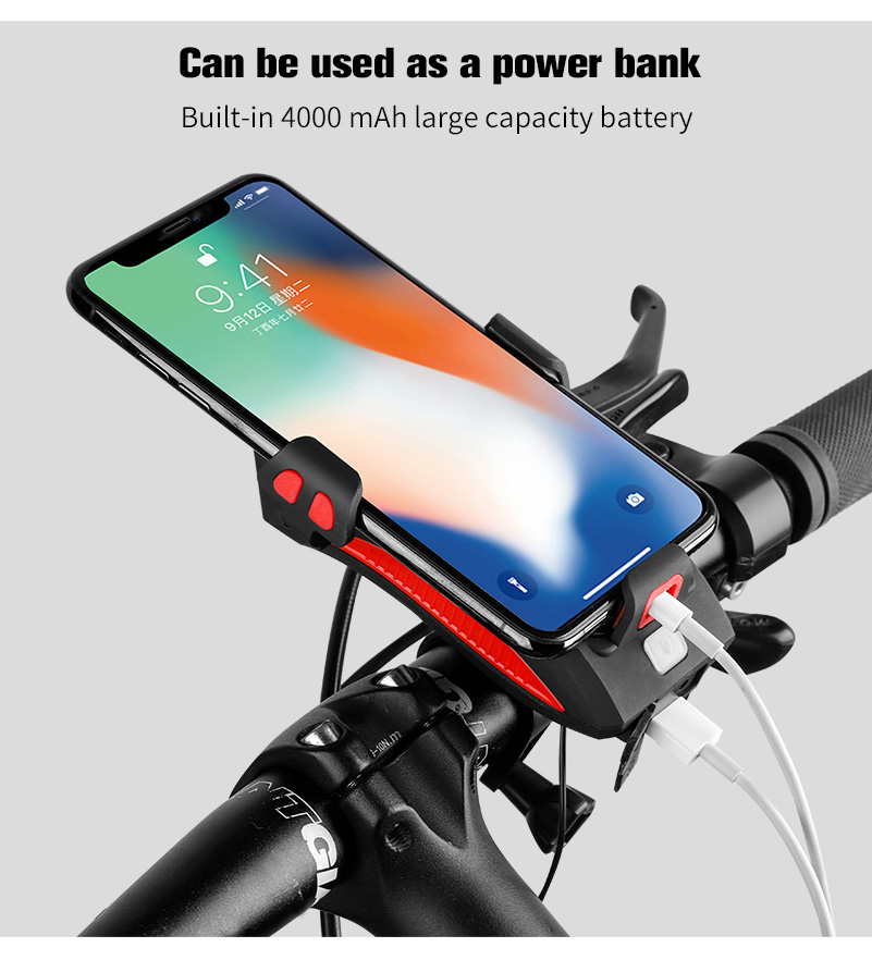 4 in 1 Bicycle Light Flashlight Bike Horn Alarm Bell Phone Holder Power Bank Bike Accessories Cycling Front Light