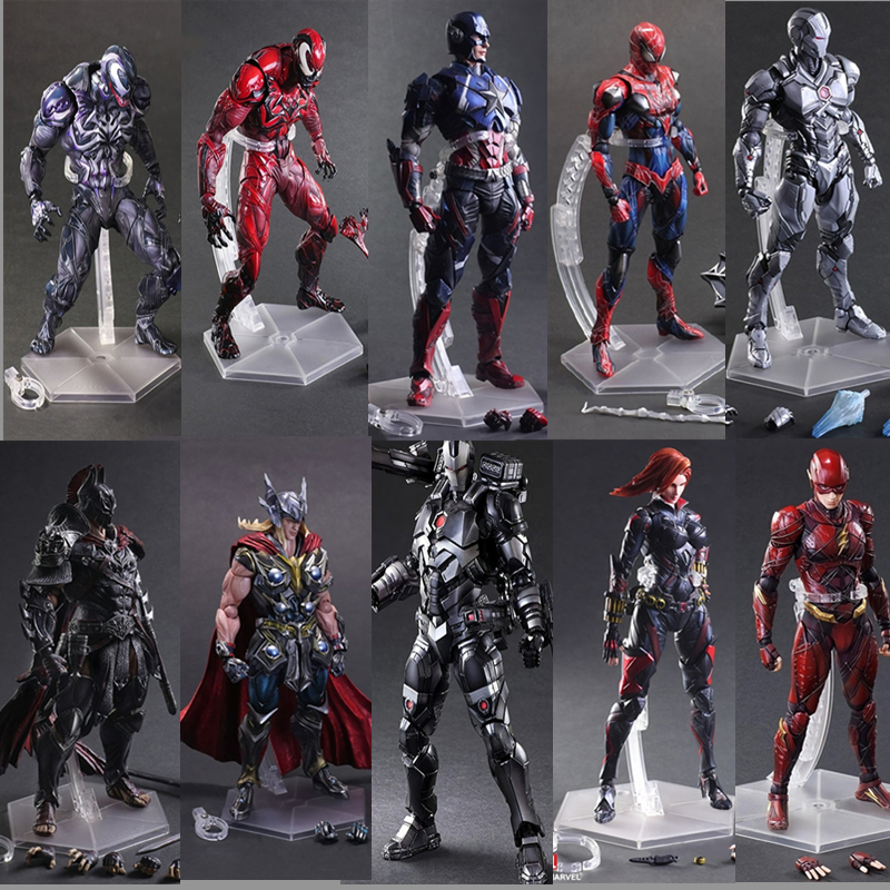 The Avengers Play Art Kai Action Figure Captain American Spider Man Thor Iron Man Batman X-men The Flash Figures Toys Dolls