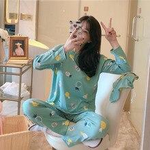 Atacado conjuntos de pijamas primavera outono 22 estilo caixa fina geração feminino longo pijamas terno casa presente feminino pijamas