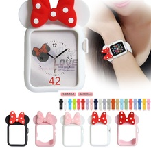 Silicone band For Apple Watch 38 42 40 44mm Iwatch Series4 3 2 1 Women Soft TPU frame Mickey Protective Shell