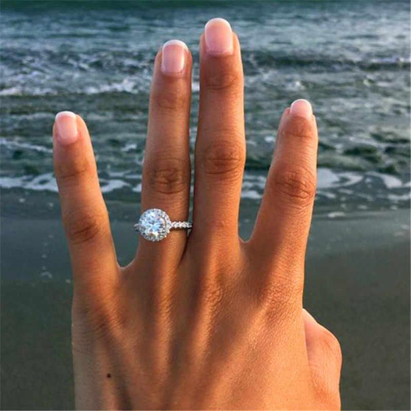 Luxus Weibliche CZ Stein Ring 925 Silber/18KT Rose Gold Gefüllt Schmuck Vintage Hochzeit Band Versprechen Engagement Ringe Für frauen