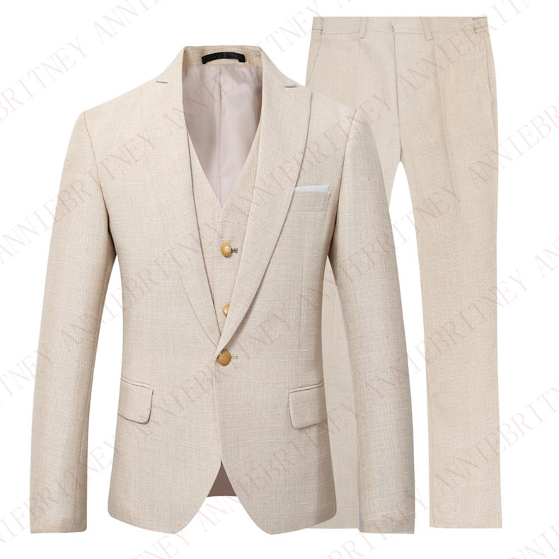ANNIEBRITNEY Beige Ivory Men Suit Casual Linen Beach Suit Wedding Groom Stylish Prom Dress Men Party Wear Tuxedo Custom Size