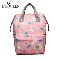 LEQUEEN Diaper Bag Printing Design Baby Care Large Capacity Mom Backpack Maternity Backpack Waterproof Nappy Bag Travel Stroller