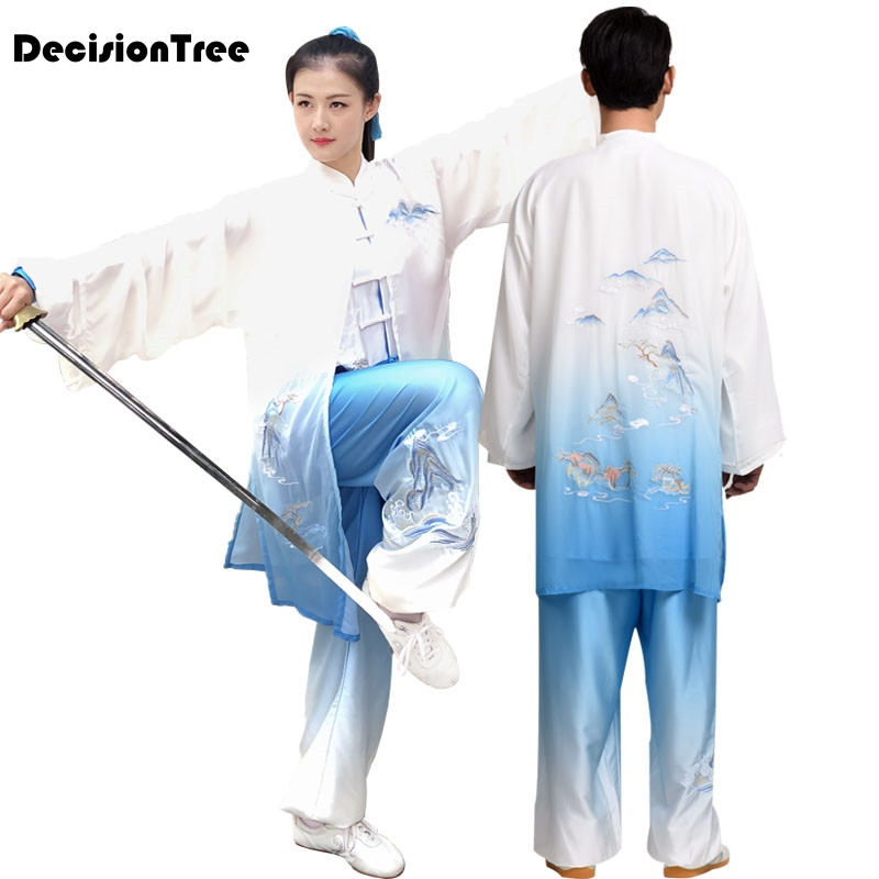2019 Embroidery Dragon Chinese Men Women Jiu Jitsu Wushu Kung Fu Uniform Tai Chi Suit Milk Silk Martial Arts Performance Suit