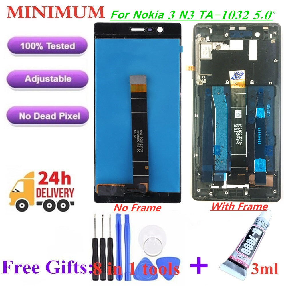 """For Nokia 3 N3 5.0"""" LCD Display Touch Screen Digitizer With Frame For Nokia 3 TA 1020 TA 1028 TA 1032 TA 1038 Replacement LCDs-in Mobile Phone LCD Screens from Cellphones & Telecommunications"""