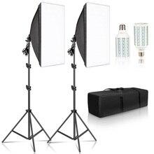 التصوير الفوتوغرافي سوفت بوكس عدة إضاءة 50x70 سنتيمتر كاميرا الملحقات نظام إضاءة مع 2 قطعة لمبات التصوير الفوتوغرافي LED لاستوديو الصور