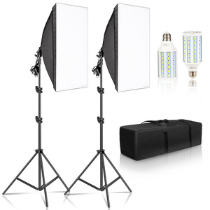 Image 1 - Photography Softbox Lighting Kits 50x70CM Camera Accessories Light System With 2pcs Photographic LED Bulbs For Photo Studio