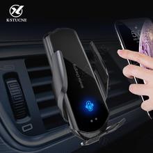 KSTUCNE otomatik sıkma 10W Qi kablosuz şarj araba tutucu iPhone 12 11 Pro XS XR Samsung S20 S10 kızılötesi otomatik indüksiyon