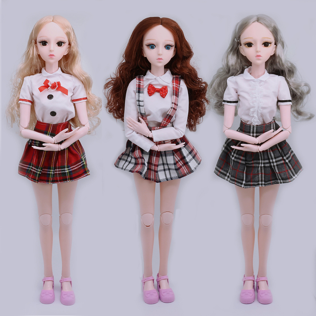 21 Moveable Jointed 60cm 1/3 BJD Dolls 4D Eyes Female Naked Nude Doll Body With Shoes Fashion Dolls Toys For Children Girls Gift