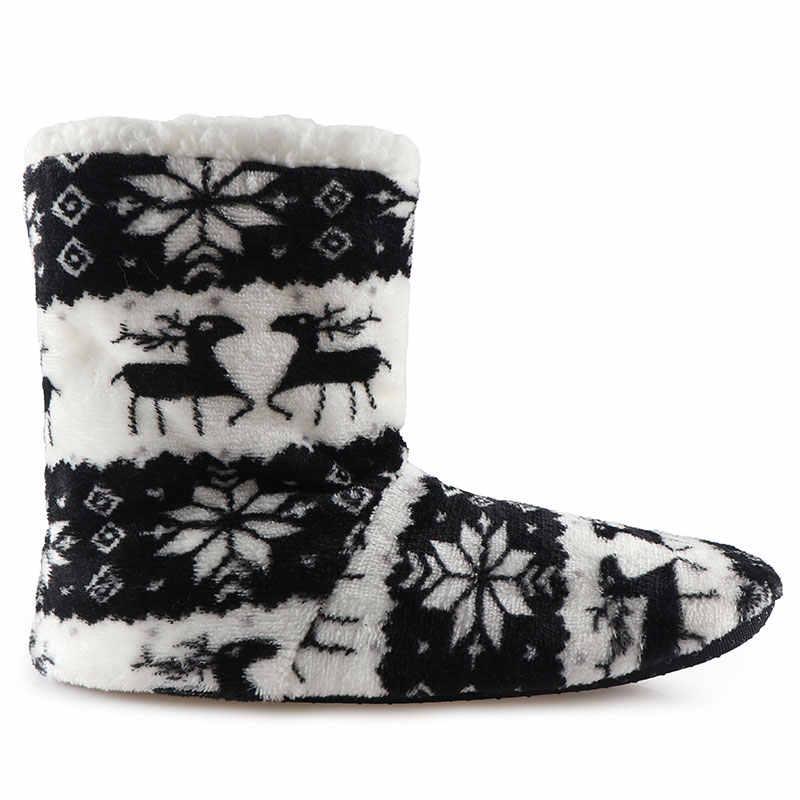 Ev terlik kış ayakkabı noel kapalı çorap ayakkabı kadın kürk tarafı kadın pamuk terlik peluş astarı Pantoffels Dames