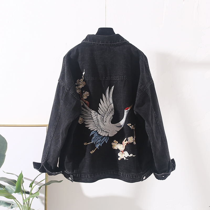 Crane Embroidery Denim Jacket Women Outerwear Harajuku Loos Short Jeans Jacket Female Streetwear Vintage Blue Black Denim Coat