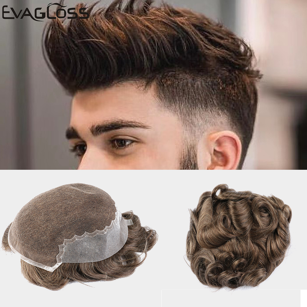 EVAGLOSS Men's Wig Durable Swiss Lace Thin PU Remy Human Hair For Mens Q6 Style Mens Toupee Hair Replacement System For Male