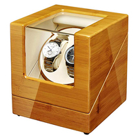 JQUEEN Bamboo Wood Watch Winder with Quiet Japanese Mabuchi Motor 2+0 Storage
