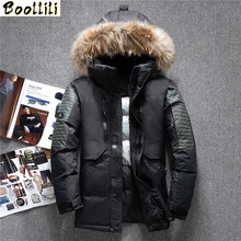 Boolili High end!Men #8217 s winter down jacket coat parka fashion Thick warm fur collar Hooded Waterproof outerwear -20 degrees cheap REGULAR Casual zipper Full Pockets 3D Print Zippers Spliced Thick (Winter) Broadcloth Acetate Polyester spandex White duck down