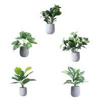 Artificial Plants Green Turtle Leaves Scindapsus Bonsai Potted Home Garden Decor