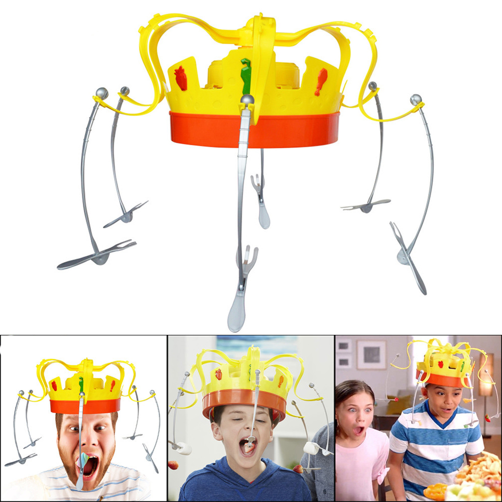 Novelty Toys For Children Rotating Crown Hat Chow Game Toys Spinning Crown Snacks Food Party Play With Friends Funny Gifts image