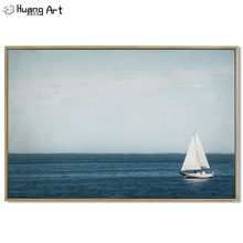 Newest Hand-painted Modern Blue Sea and Sky Landscape Oil Painting on Canvas for Living Room Decor Seascape Wall Art