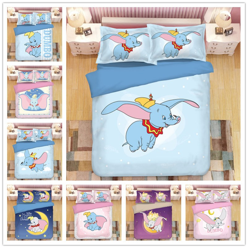 Disney Dumbo Bedding Sets Queen King Size Adult Children Christmas Cartoon Bed Set Duvet Cover Quilt Cover Pillowcase