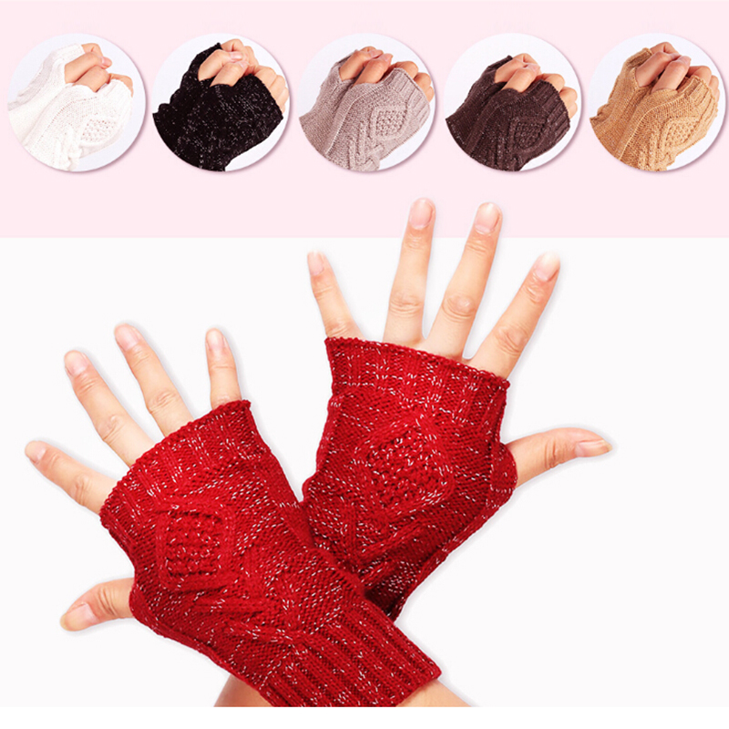 Hot New 1Pair Women Autumn Winter Warm Knitted Arm Fingerless Gloves Long Stretchy Mittens Men Hand Arm Warm Gloves