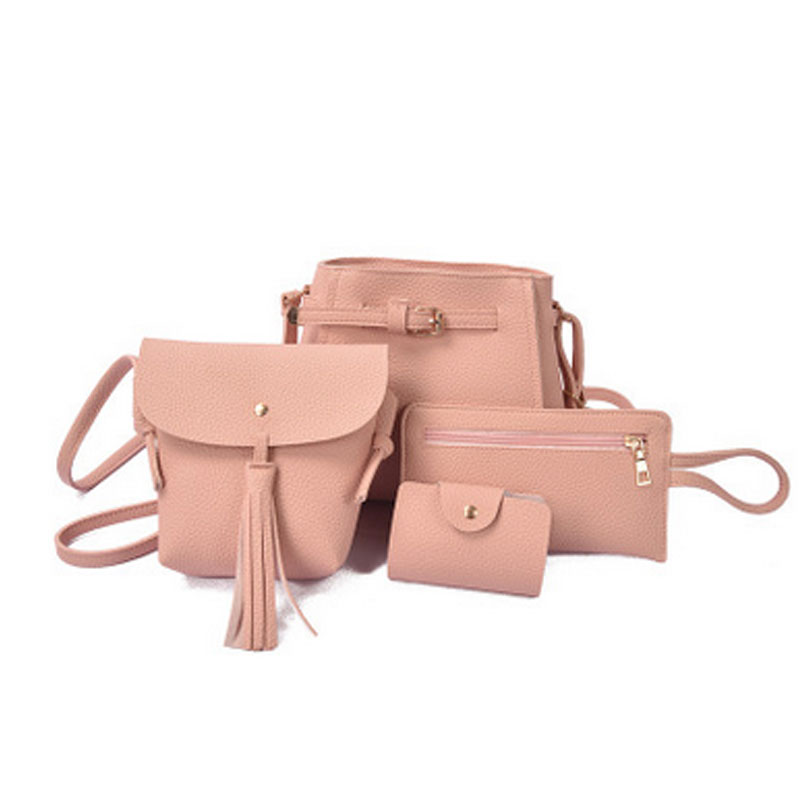 4PCS/Set Women Handbags Solid Color Composite Bags Messages Crossbody Bags Women Wallet Pouch