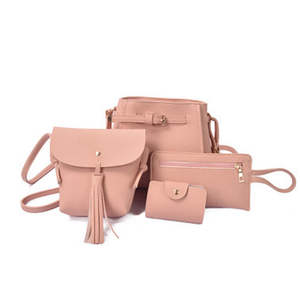 4PCSSet Women Handbags Solid Color Composite Bags Messages Crossbody Bags Women Wallet Pouch