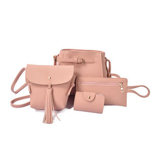 4PCS/Set Women Handbags Solid Color Comp