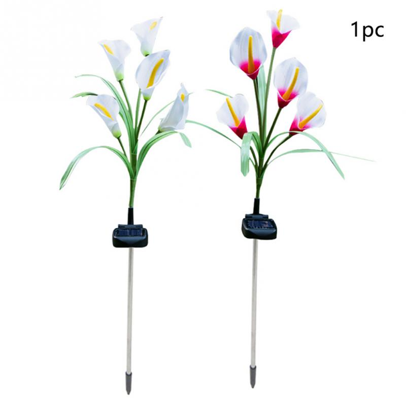 Landscape Patio Balcony Garden Decor Outdoor Waterproof Pathway Park Backyard Calla Flower Yard <font><b>LED</b></font> Solar Light <font><b>80cm</b></font> Lawn image