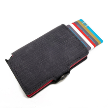 Jeans Strepen Anti Rfid Id Credit Card Holder Case Vrouwen Business Bank Card Portemonnee Lederen Portemonnee Geld Zak Mini Portemonnee(China)