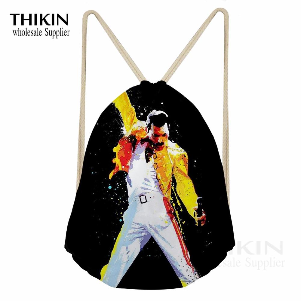 THIKIN Freddie Mercury Print Women Polyester Beam Pocket Drawstring Bag Queen Band High-Quality Girl Backpack Feminina Sac A Dos