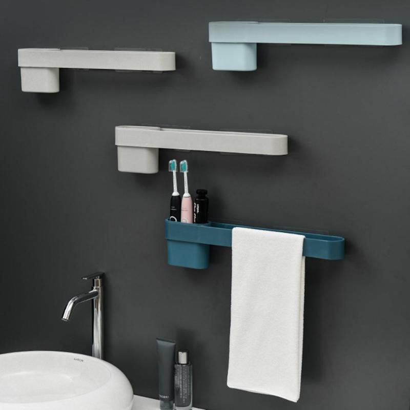 Towel Rail Rack Shelf Toothbrush Holder Safety and Reliability Gadgets Wall Hanging Novelty Bathroom Accessory Storage