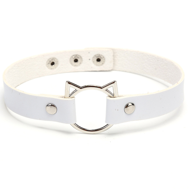 PU Leather Buckle Belt Collar Choker Necklace Bracelet Punk Goth Jewelry Bib