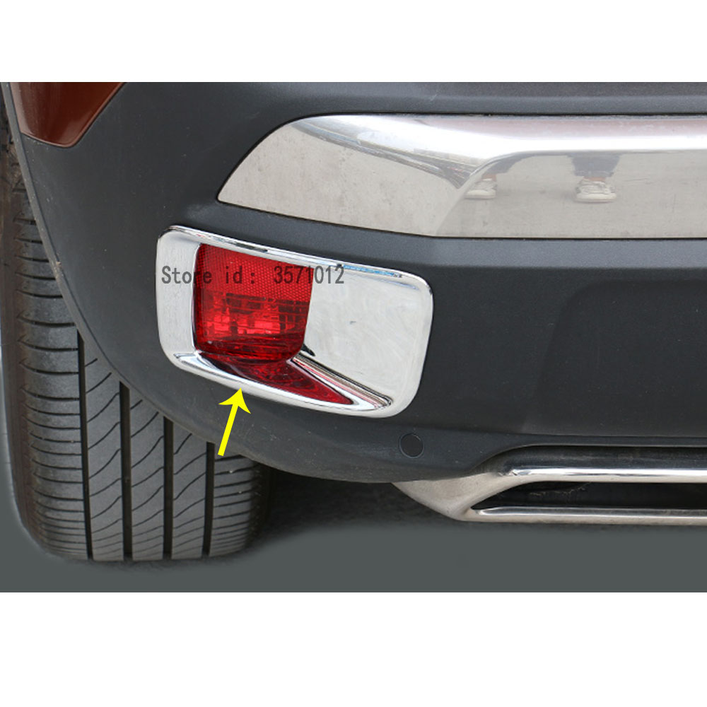 Car ABS Chrome Cover Trim Back Tail Rear Fog Light Lamp Frame Stick Panel For <font><b>Peugeot</b></font> <font><b>3008</b></font> GT 3008GT <font><b>2016</b></font> 2017 2018 2019 2020 image