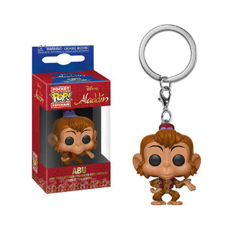 FUNKO POP Aladdin Theme Cute Genie Abu Keychain Pocket Vinyl Action Figures Collection doll Toys for Children Christmas gift