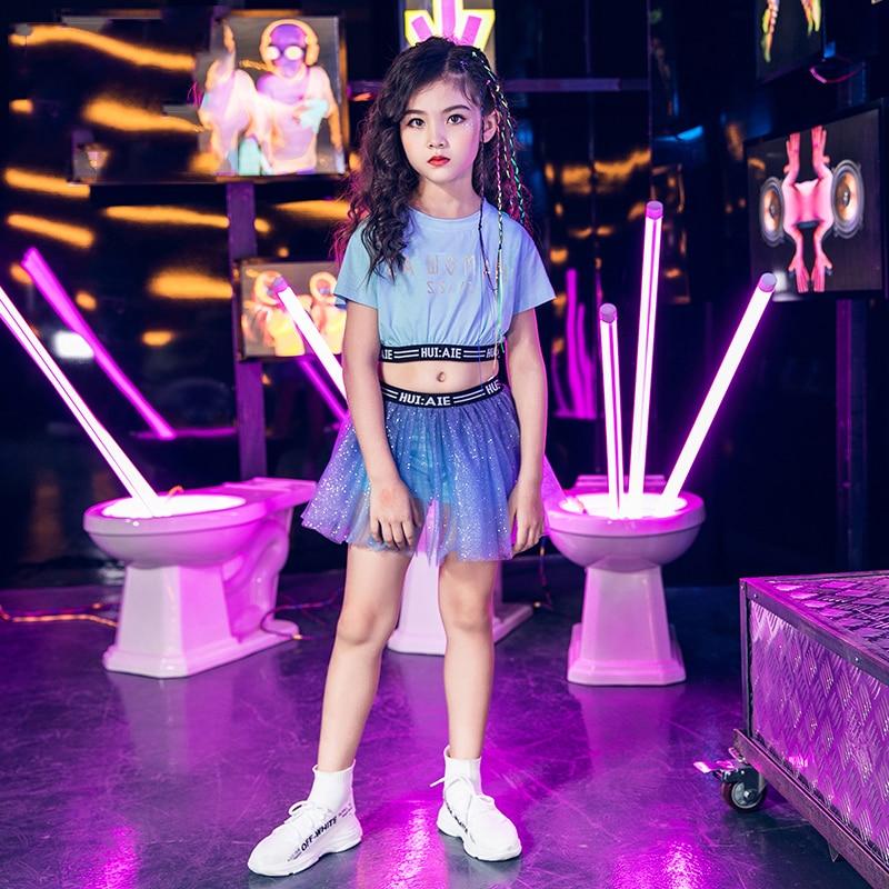 Girls Jazz Dress Children Street Dance Blue Tutu Skirt Kids Hip Hop Set Performance Stage Costume Catwalk Show Outfit DQL1907