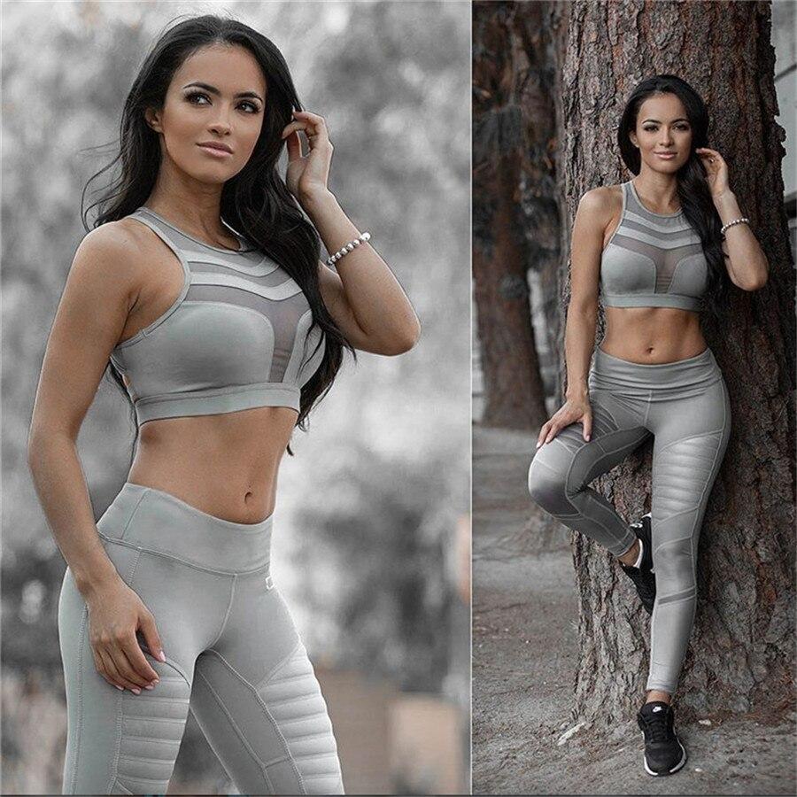 S-XXXL Plus Size Women Geometric Push Up Tight Fitness Leggings Yoga Pants 2019 Gym Clothing Mesh Patchwork Athletic Sports Wear