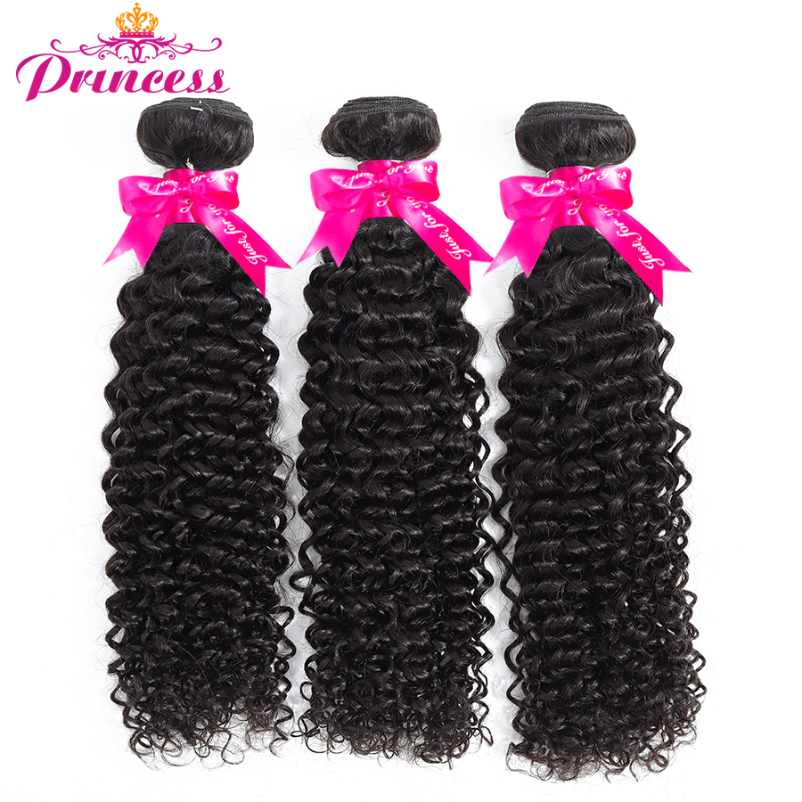 Beautiful Princess Brazilian Curly Hair Bundles 100% Human Hair Weave Bundles Natural Color Remy Hair Extensions