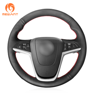 Image 1 - MEWANT Opel Mokka Insignia Astra (J) Meriva (B) Ampera Cascada Zafira Tourer 용 검은 인조 가죽 핸들 커버