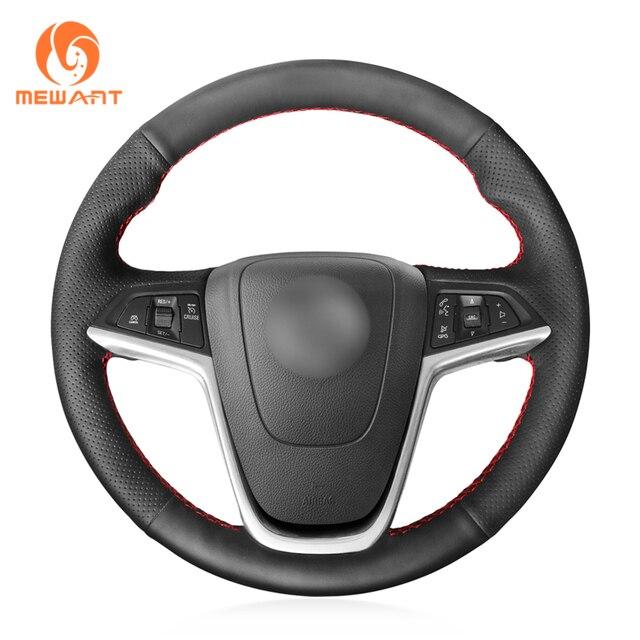 MEWANT Opel Mokka Insignia Astra (J) Meriva (B) Ampera Cascada Zafira Tourer 용 검은 인조 가죽 핸들 커버