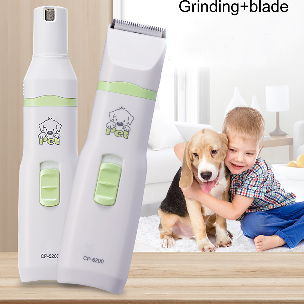 CP-5200 2 in 1 Pet Dog Cat Hair Trimmer Paw Nail Grinder Grooming Clippers Nail Cutter Hair Cutting Machine