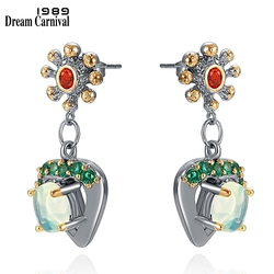 DreamCarnival1989 Elegant Small Earrings Women Cute Hanging Charm Love-Hearts Peacock Blue Zircon Dangle Girls Jewelry WE4031X2