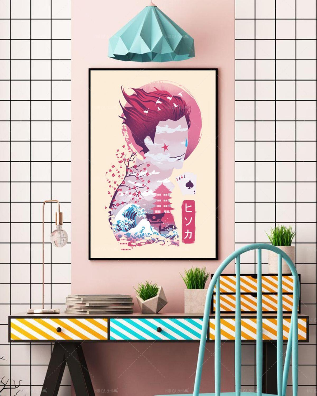 printed poster hanging poster hunter x