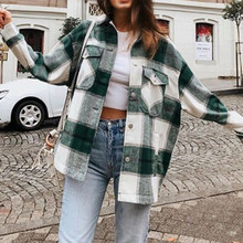 Abrigo de invierno um abrigo de mujer cuadros verde streetwear abrigo de lana abrigo de camisa de otoño gruesa de manga larga