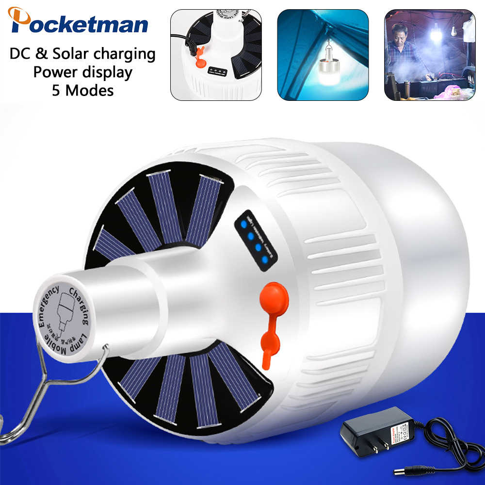 Details about  /Solar LED Bulb Lamp USB Rechargeable Emergency Night Market Camping Lamp C#P5