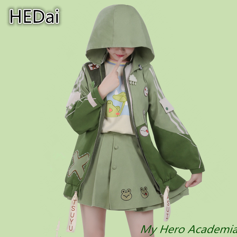 Anime Cos My Hero Academia Asui Tsuyu Lovely Little Dinosaur Cosplay Costume+Wig Daily Coat Hooded Sweatshirt Woman Dress Skirt