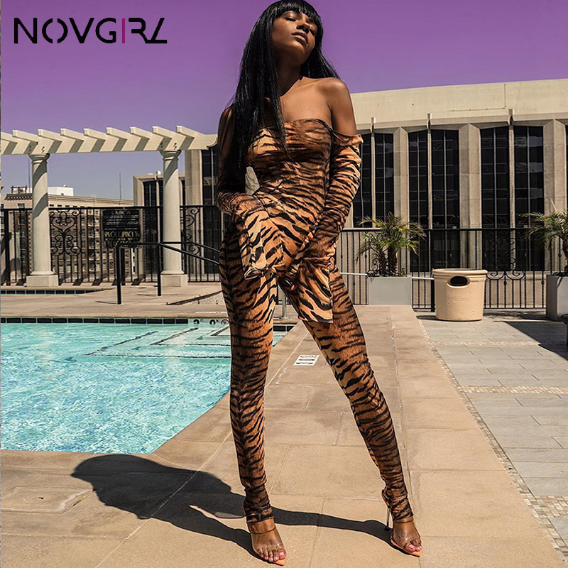 Novgirl Off Shoulder Flare Sleeve Mesh Sexy Jumpsuit Women Tiger Leopard Print Fitness Rompers Club Party Fashion Overalls 2019