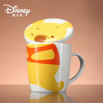 Disney Mug with Lid and Spoon Ceramic Cup Cute Cartoon Milk Coffee Cup Winnie The Pooh Water Cup Large Capacity Beaker peacock shape water cup large capacity mug with lid spoon creative personality tea cup ceramic coffee cup latte milk mug