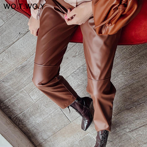 WOTWOY Elastic High Waist Fleece Straight Leather Pants Women Loose Patchwork Faux Leather Trouser Women Pockets Mujer Pantalone